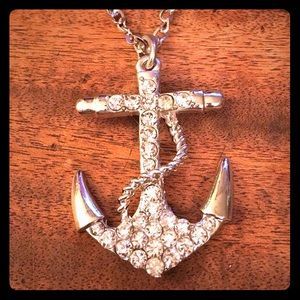 "Jewelry - Rhinestone Anchor Necklace 24"" Unisex New"